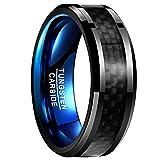 Vakki Men's 8mm Black Carbon Fiber Tungsten Carbide Rings High Polished Blue Wedding Band Rings Polished Edge Size 8