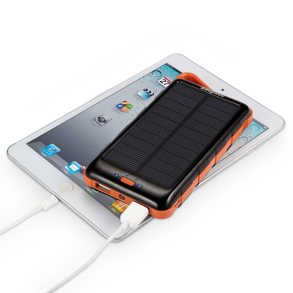 easyacc 15000mah solar ladeger t power bank dual usb externer akku taschenlampe ebay. Black Bedroom Furniture Sets. Home Design Ideas