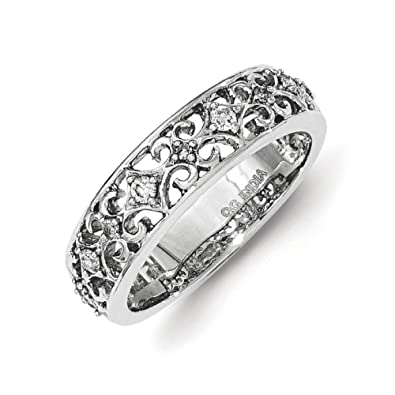Sterling Silver Diamond Ring - Ring Size Options Range: L to P