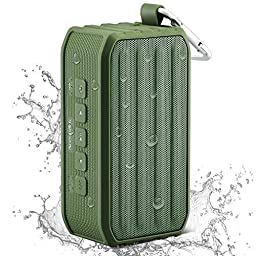Arespark Outdoor Waterproof Bluetooth 4.0 Speaker with 12 Hours Playtime,7W Dual Stereo Bass Radiator,IPX4 Outdoor/Shower Use,NFC,Built-in Mic,SD/TF card Play,Remote Shutter Control,Compatible with All Bluetooth Devices,Green