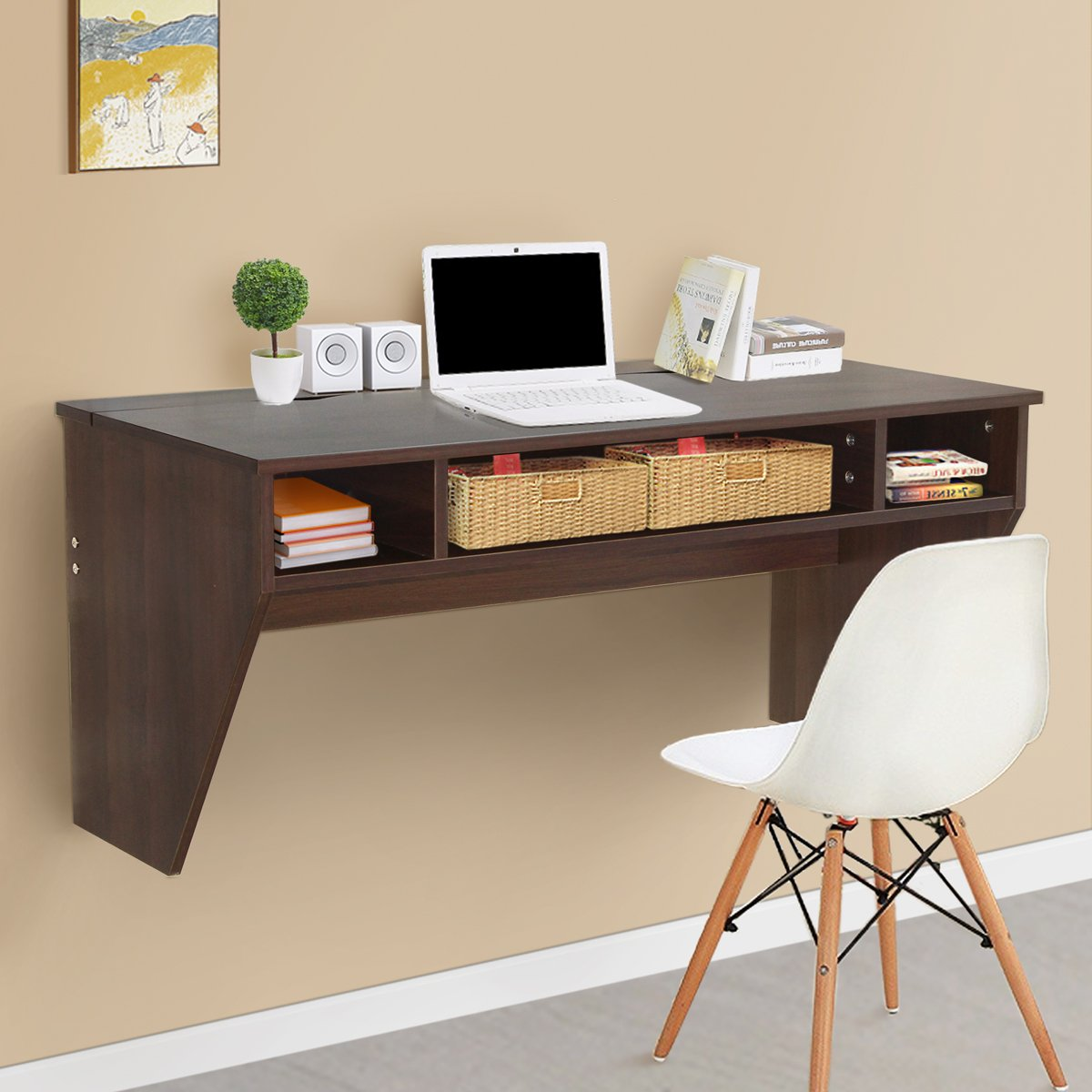 U-MAX Wall Mounted Computer Desk Work Station (Brown)