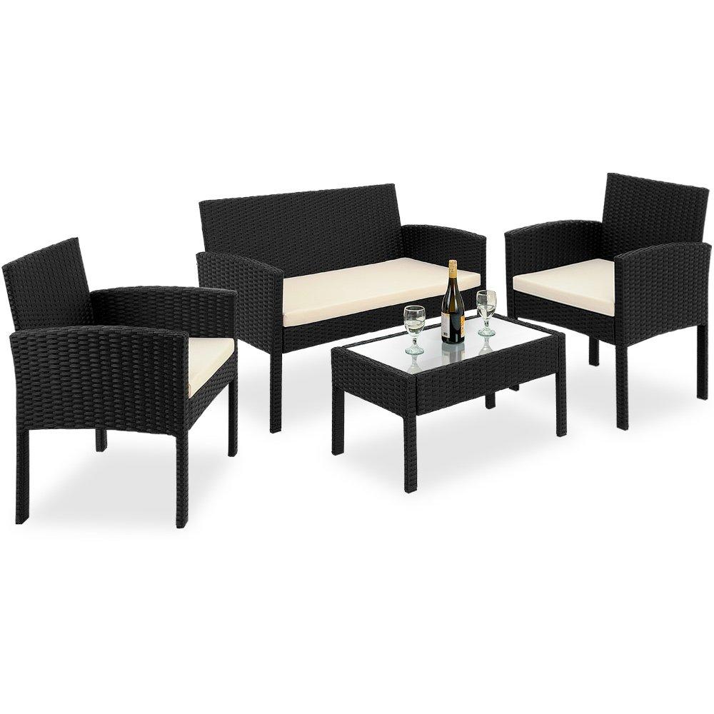 7tlg Rattanlounge Sitzgruppe mit Glastisch PolyRattan Sitzgarnitur Gartenmöbel Gartengarnitur online bestellen