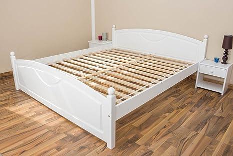 Bett / Gästebett Kiefer massiv Vollholz weiß 81, inkl. Lattenrost - Abmessung 180 x 200 cm