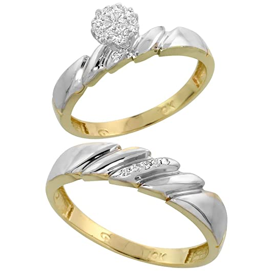 9ct Gold 2-Piece Diamond Ring Set, 4mm Engagement Ring & 5mm Man's Wedding Band