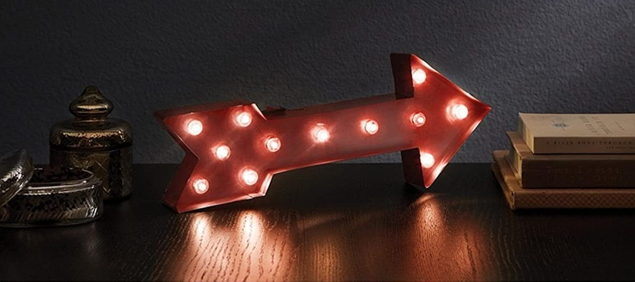 ARROW - Illuminated Marquee Word Sign - Red Metal 16-in x 9-in 0