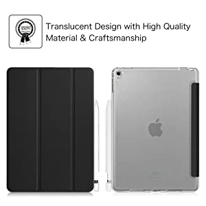 Fintie iPad Pro 9.7 Case with Built-in Apple Pencil Holder - Slim Shell Standing Cover with Translucent Frosted Back Protector Auto Wake/Sleep for Apple iPad Pro 9.7 Inch Tablet, Black (Color: Black, Tamaño: 9.7 Inch)