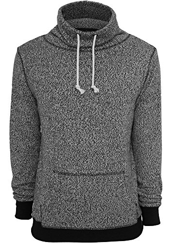 Urban Classics TB543 Melange High Neck Knitted Crew Felpa Collo Alto Uomo Regular Fit (Grey/Black, S)