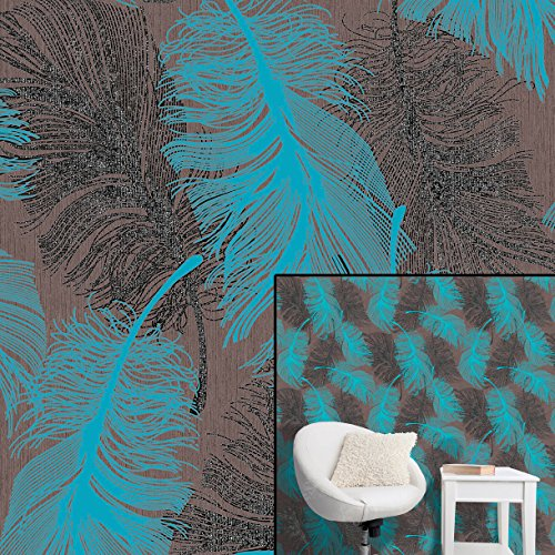 coloroll-feather-vinyl-tapete-in-petrol-m0961-chocolate