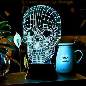 Elifestore Christmas Gift 3D LED Skull light Desk Lamp Night Light Illusion Light Illuminated from Elifestore