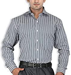 SPEAK Green Stripes Cotton Mens Formal Shirt
