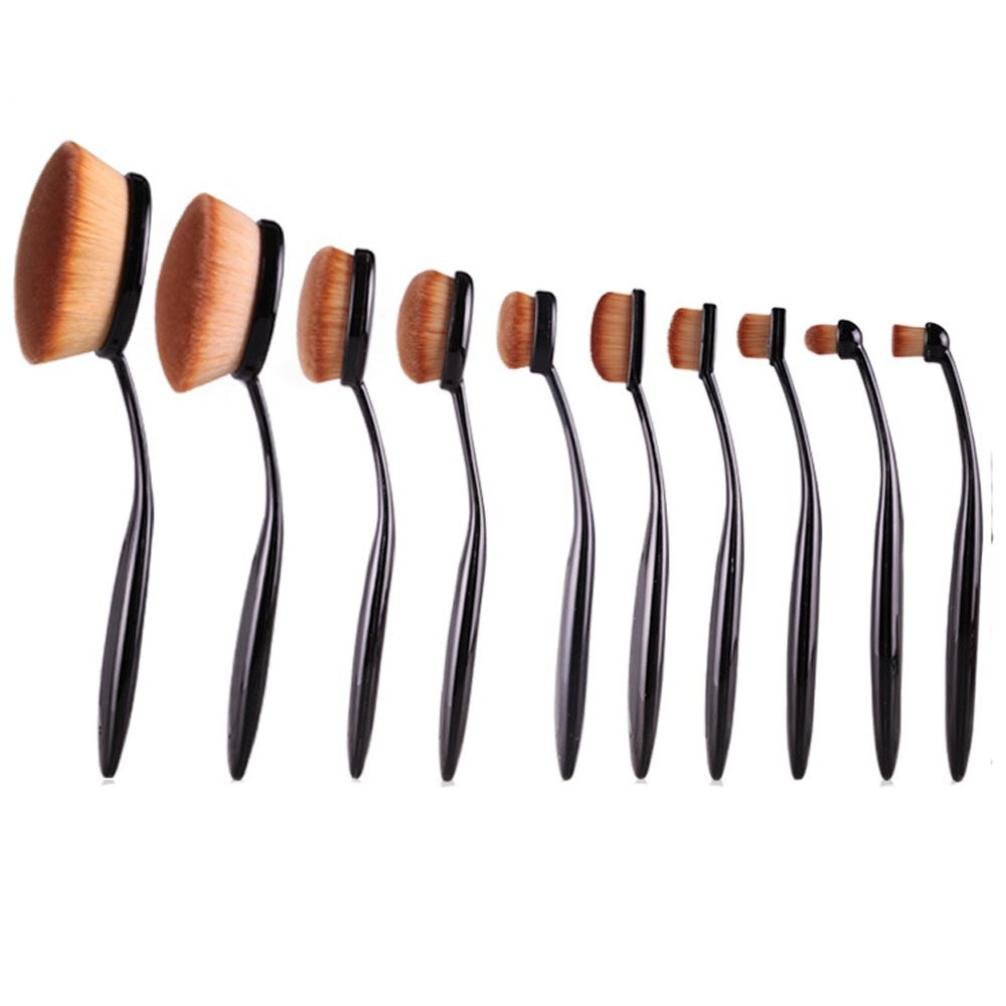 Sankuwen 10 Pcs Powder Foundation Face Makeup Oval Loose Brush