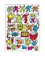 ArtopWeb Panel Decorativo Haring Untitled 1984 - 80x60 cm Bordo Nero