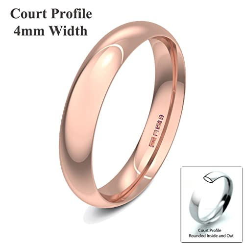 Xzara Jewellery - 9ct Rose 4mm Light Court Hallmarked Ladies Gents 2.4 Grams Wedding Ring Band