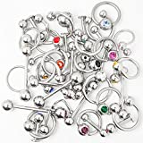 Overstock Body Jewelry - 40 Pieces Mixed 316L Surgical Steel - Lip, Ear, Nipple, Tongue by BodyJewelryOnline