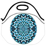 Snoogg Abstract Water Waves Background Vector Illustration Travel Outdoor Carry Lunch Bag Picnic Tote Box Container Zip Out Removable Carry Lunchbox Handle Tote Lunch Bag Food Bag For School Work Office