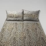 A'la Mode Creation Cotton Double Tiger Print Bedsheet With Two Pillow Covers - Grey And Brown