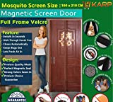 KARP Premium Quality Magnetic Screen Door Full Frame Velcro - Keep Bugs Out Lets Fresh Air In. No More Mosquitos or Flying Insects - Children and Pet Friendly, Instant Bug Mesh with Top-to-Bottom Seal, Snaps Shut Like Magic for a Hands-Free Bug-Proof Curtain (3.5 Foot Length X 7 Foot Height) (Coffee Color), Package weight - 645 Gram