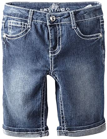 Almost Famous Girls 7-16 Heavy Stitch Bermuda, Dark Blue Wash, 12