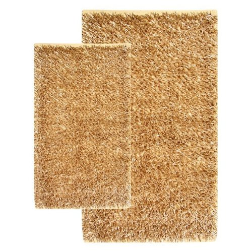 Chesapeake 13421 2 Piece Barbados Shag Accent Rug Set in Linen-21 in. x 34 in. & 27 in. & 42 in.