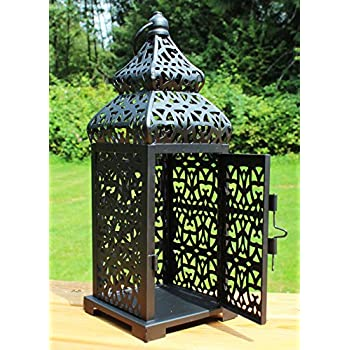 Black Temple Moroccan Style Candle Lantern, Small