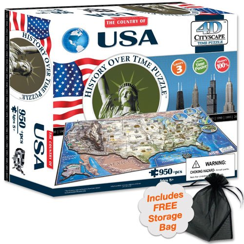 4D USA Cityscape Time Puzzle with Storage Bag (Mount Rushmore Model compare prices)