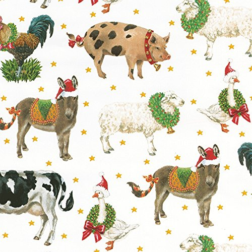 Entertaining with Caspari 9653RC Farm to Stable Continuous Gift Wrap Roll, 8', Green