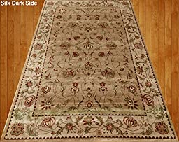 Homemusthaves Beige Cream Brown Red Green Traditional Persian Floral Faux Silk Rug Carpet (4X6)