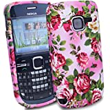 MYNC Flower TPU Gel Case For Nokia C3-00 + Screen Protector / Hot Pink Green
