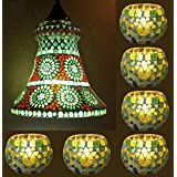 Vintage Tiffany Hanging Lamp & Ethnic Glass Candle Holder Combo Set Of 7 Pcs