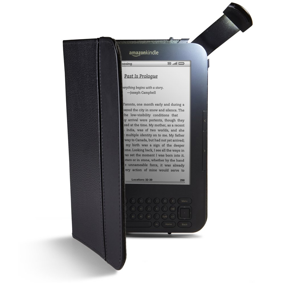 Amazon Kindle with lighted leather cover
