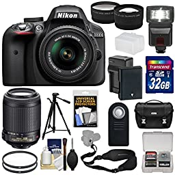 Nikon D3300 Digital SLR Camera & 18-55mm G VR DX II (Black) + 55-200mm VRII Lens + 32GB + Case + Battery/Charger + Tripod + Flash + Tele/Wide Lens Kit