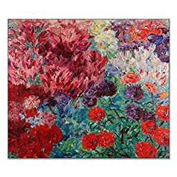 Emil Nolde Flower Garden Without Figure Blumengarten Ohne Figur 1908 Original Florals Oil Painting Reproduction on Gallery Wrapped Canvas 30X26 inch