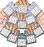 Nail Art Water Tattoo Decals - Variety Designs & Colors ♥ Colorful Butterflies ♥ Flowers, 11 - pack /BRTIII/