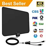 [2019 Latest] Amplified HD Digital TV Antenna 60-95 Mile Range.Support 4K HD VHF UHF Freeview Television Local Channels w/Detachable Signal Amplifier