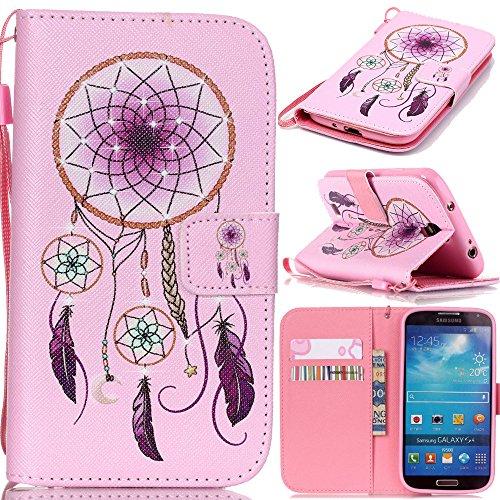 アイビー Samsung Galaxy サムスン ギャラクシー S4 Mini(i9190) SIV Mini 対応ケース 「ピンク・ドリームキャッチャー」 PUレザー 手帳型カバー ケース ストラップ付き 磁気フリップ閉鎖 横開き IDカード/クレジットカード入れ スタンド機能付 保護 防塵 卓上対応 Samsung Galaxy サムスン ギャラクシー S4 Mini(i9190) SIV Mini 用