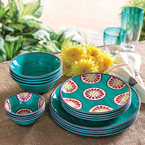 Melamine Dinnerware 16-Piece Set outdoor indoor BPA Free (teal)
