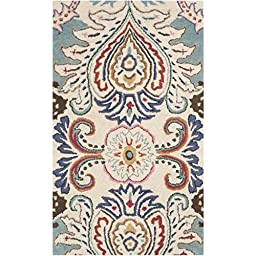 Safavieh Bella Collection BEL118A Handmade Ivory and Blue Wool Area Rug, 2 feet 6 inches by 4 feet (2\'6\