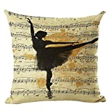 Ballerina Print Home Decorative Bed Cushion Throw Pillow Case Vintage Cotton Linen Square Pillows,18inch