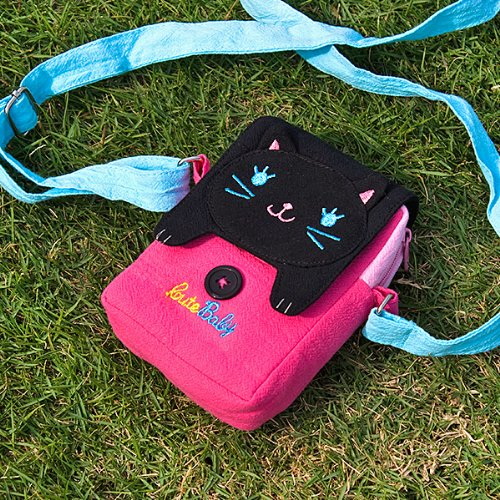 [Black Cat] Embroidered Applique Swingpack Bag Purse / Wallet Bag / Camera Bag (3.9*5.1*1.2)