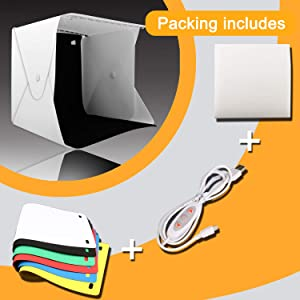 Zenic Photo Studio Box, Mini Portable Folding Photography Photo Studio Shooting Tents with Dual LED Lights and 6 Backdrops