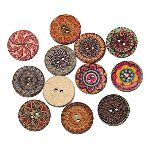 Souarts Mixed Random Shinning Round 2 Holes Wooden Buttons for Sewing Crafting Pack of 100 (Buttons For Sewing And Crafting compare prices)