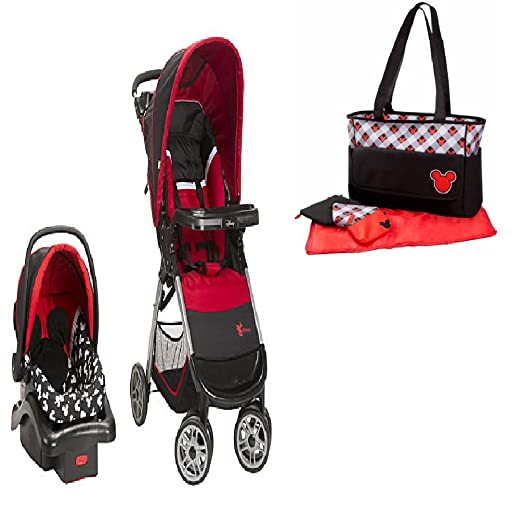 Baby Stroller Travel System and Diaper Bag Bundle (Mickey)