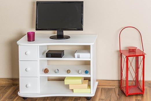 meuble sous le télé au bois du pin massif laqué en blanc Junco 202 - dimensions 62 x 82 x 46 cm