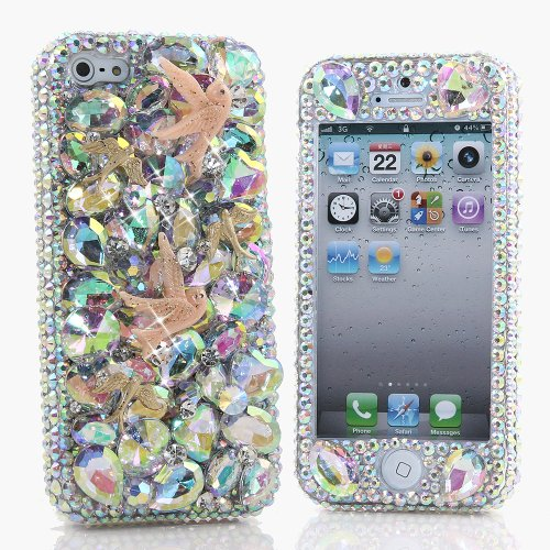 Special Sale BlingAngels® 3D Luxury Bling iphone 5 5s Case Cover Faceplate Swarovski Crystals Diamond Sparkle bedazzled jeweled Design Front & Back Snap-on Hard Case + FREE Premium Quality Stylus and Water-Resistant Bag (100% Handcrafted by BlingAngels) (Doves with AB Crystals and Stones)