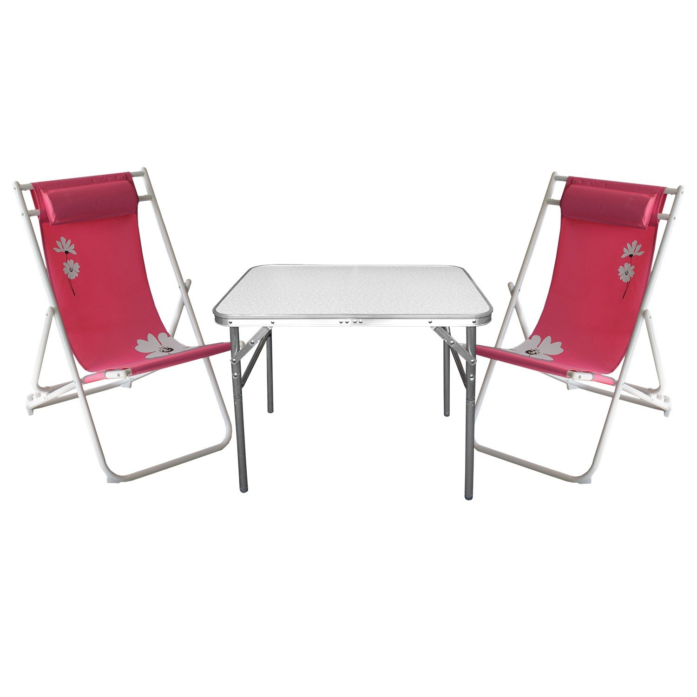3tlg. Campinggarnitur Aluminium Klapptisch 55x75cm + 2x Liegestuhl klappbar Pink Gartengarnitur günstig online kaufen