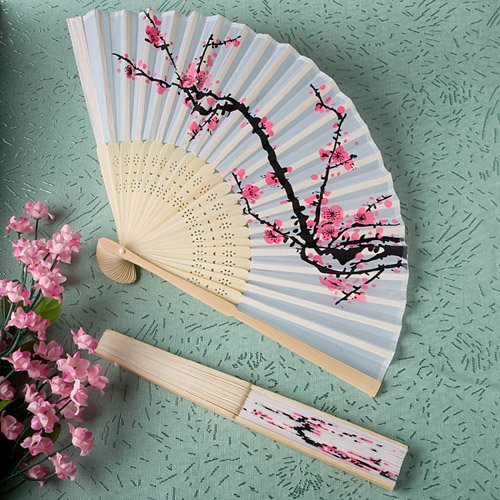 80 Delicate cherry blossom design silk folding fan favors