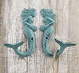 Set-of-2-Nautical-Cast-Iron-Mermaid-Wall-Hooks-Aqua