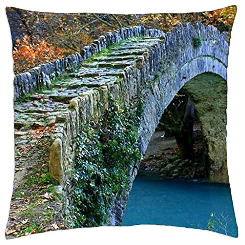 "walk over the stone bridge - Throw Pillow Cover Case (18"" x 18"")"