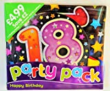18th Happy Birthday Party Pack / Jumbo flashing Badge +Banner + 10 Balloons