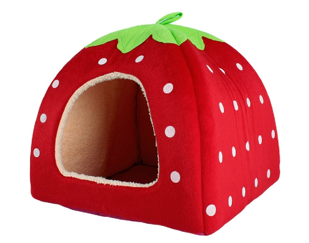 Cute Soft Sponge Strawberry Pet Cat Dog House Bed Warm Cushion Basket